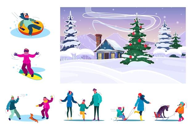 雪の降る冬の間に休んで家族のセット
