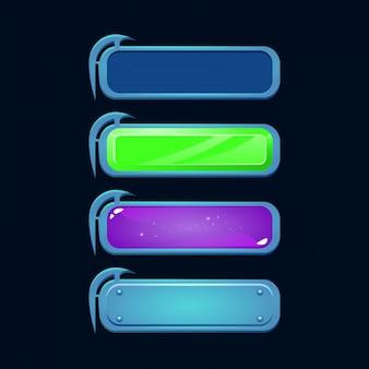 다양한 스타일의 판타지 버튼 세트. rpg 게임에 적합