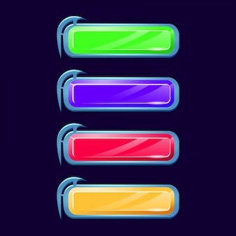 2d 게임 요소에 대한 다양한 색상의 판타지 다이아몬드 크리스탈 버튼 세트