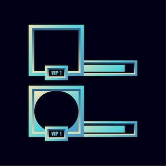 Набор фэнтезийных глянцевых игровых баннеров с рамкой пользовательского интерфейса с полосой для элементов графического интерфейса