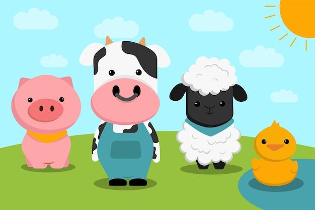 잔디밭에 농장 동물 캐릭터 세트