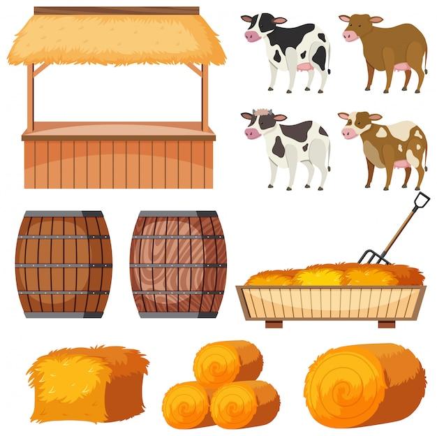 Набор сельскохозяйственных животных и сена на белом фоне