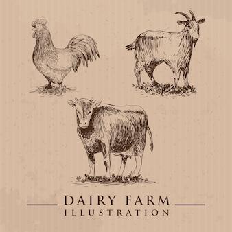스케치 스타일의 농장 동물 세트 벡터 일러스트 레이 션 가축 손으로 그린 암소 염소 암탉