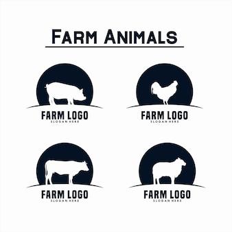 농장 동물 로고 디자인 세트