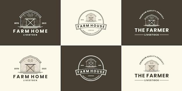 Набор дизайн логотипа фермерского дома сельскохозяйственное ранчо, ретро-стиль
