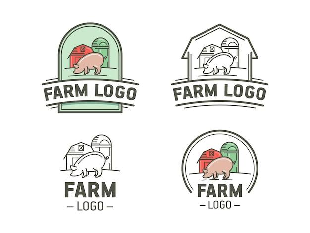 평면 및 선형 스타일의 농장 로고 세트. 돼지와 함께 빈티지 상징입니다.