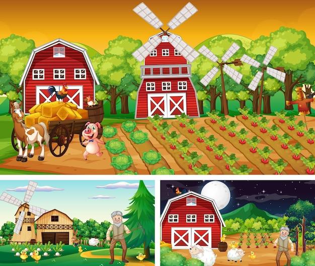 Набор фермерских сцен в разное время
