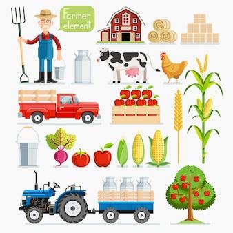農民要素のセット。農夫と家畜。