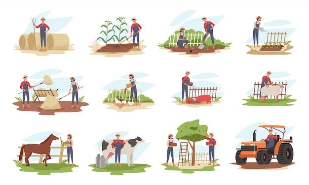 Набор фермеров или сельскохозяйственных рабочих, сажающих урожай, собирающих урожай, собирающих яблоки, кормящих сельскохозяйственных животных, несущих фрукты, работающих на тракторе.