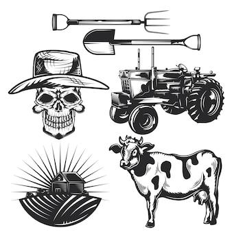 独自のバッジ、ロゴ、ラベル、ポスターなどを作成するための農業要素のセット。