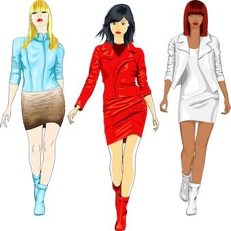 Набор модных девушек в кожаных костюмах