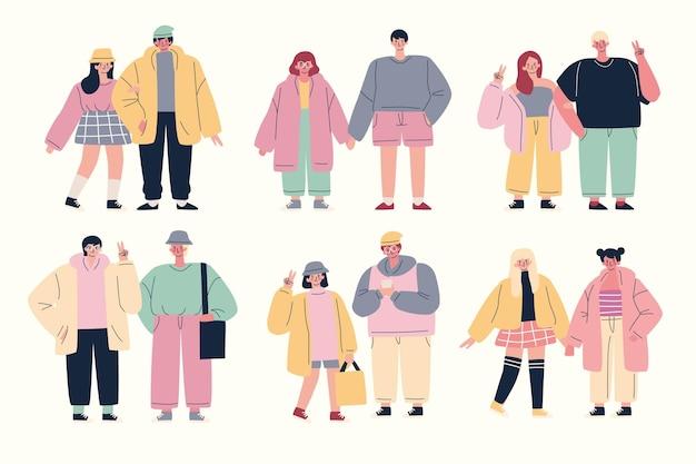 패션 젊은 한국인 세트
