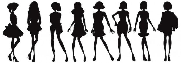 ファッショナブルな女性のシルエットのキャラクターのセット