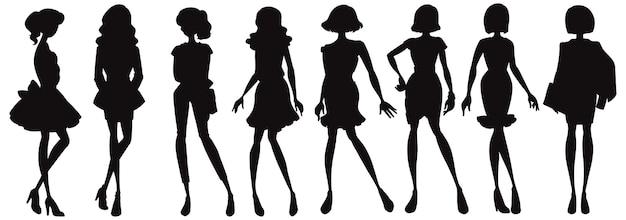 ファッショナブルな女性のシルエットキャラクターのセット