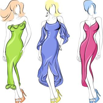Комплект модной красивой топ-модели в платье зеленое, красное