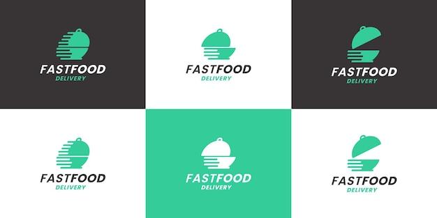 レストランと配送会社のための高速配信のロゴデザインのセット