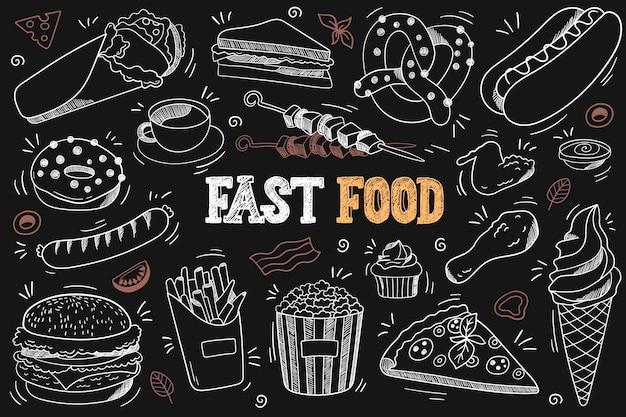 Набор рисунков быстрого питания на доске, бургер, пончики, куриные ножки, мороженое, пицца и т. д.