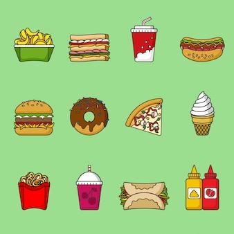 ファーストフードのアイコンのセット。飲み物、スナック、お菓子。カラフルな輪郭を描かれたアイコンのコレクション。サンドイッチ、ハンバーガー、ピタ、ピザ、ドーナツ、シェイク、フライドポテト、ホットドッグ、アイスクリーム