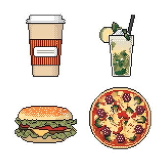 Набор пиксельных произведений быстрого питания на белом фоне