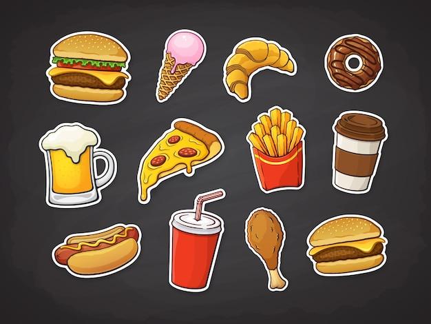 Набор фаст-фуда, пицца, бургер, хот-дог, картофель фри, пончик, чашка соды и кофе, вектор