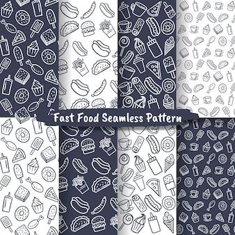 패스트 푸드 원활한 패턴, 손으로 그린 음식 및 음료 배경 세트