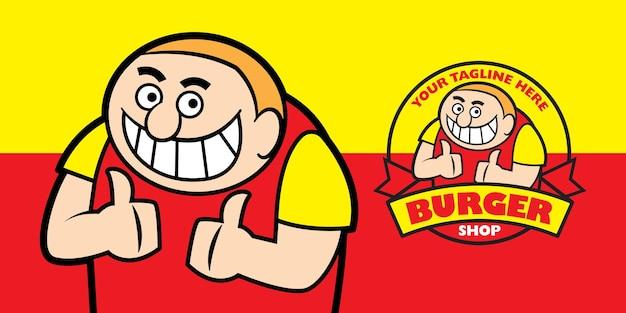 食べ物のロゴのテンプレートを親指を示す太った少年のセット