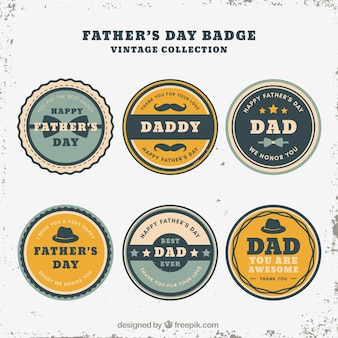Set of father's day badges in vintage style