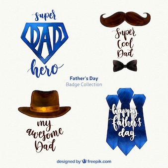 Set of father's day badges with accessories