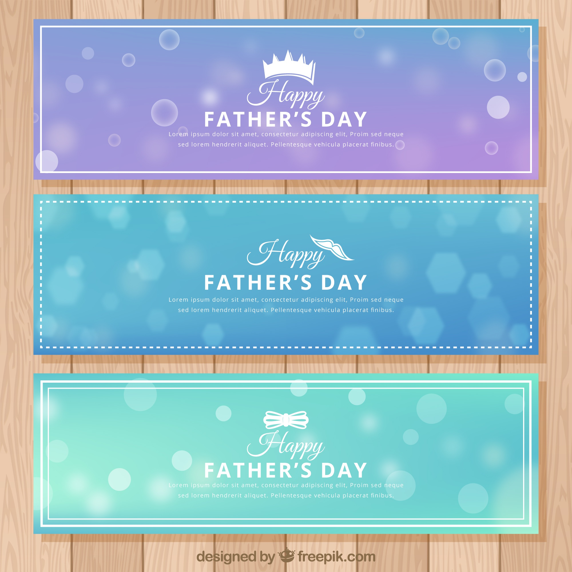 Set of father's day banners with blurred background