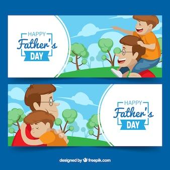 幸せな家族と父の日のバナーのセット