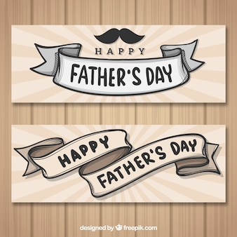 Set of father's day banners with ribbons