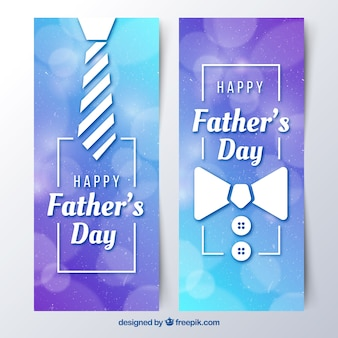 Set of father's day banners with tie and bow tie