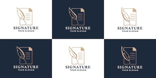 참고 로고 디자인 템플릿이 있는 깃털 펜 서명 세트