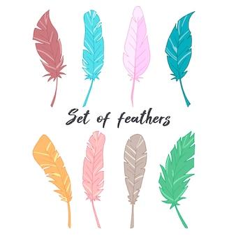 Набор перьев. цветные перья. векторная иллюстрация.