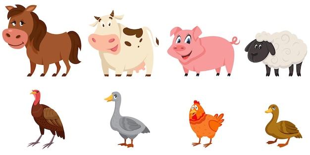 雌の動物の側面図のセット。漫画風イラストの家畜