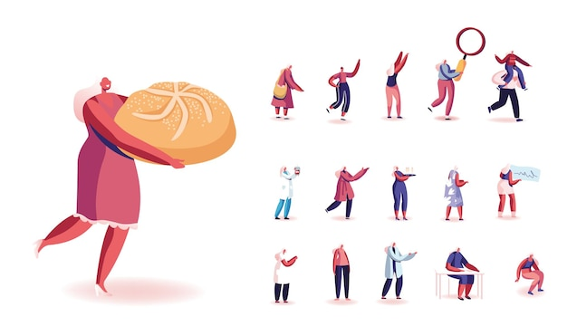 여성 캐릭터 세트는 거대한 빵, 돋보기, 샴페인이 든 쟁반, 피가 든 팩, 남자를 타고 있는 소녀