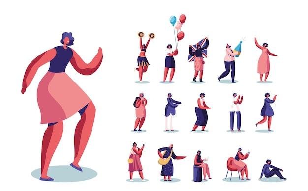 여성 캐릭터 댄스, 치어 리더 공연, 풍선을 든 소녀, 영국 국기, 샴페인 병 세트는 흰색 배경에 격리된 들판에서 목화를 수집합니다. 만화 사람들 벡터 일러스트 레이 션