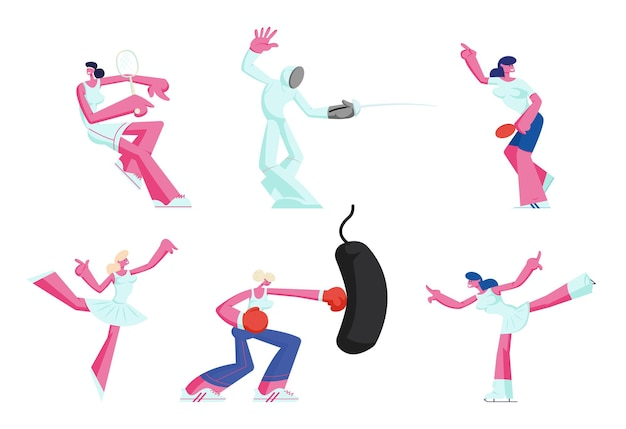 スポーツ活動を獲得している女性キャラクターのセット。漫画フラットイラスト