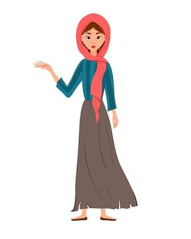 여성 캐릭터의 집합입니다. 여자는 오른쪽을 가리 킵니다. 삽화.