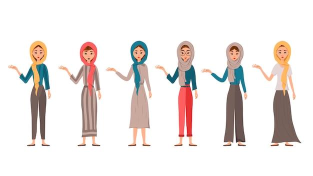 여성 캐릭터의 집합입니다. 소녀들은 오른손을 옆으로 가리 킵니다.