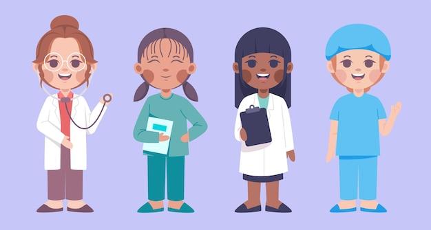 의료 팀의 여성 캐릭터 세트