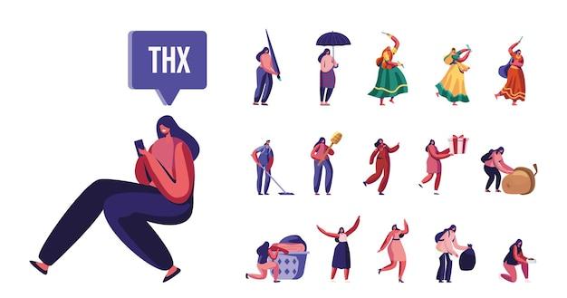 開いた傘と閉じた傘を持つ女性キャラクターのセット、踊るインドの女の子、スマートフォンを使用する女性、救急車の医者、白い背景で隔離の人々の生活。漫画のベクトル図