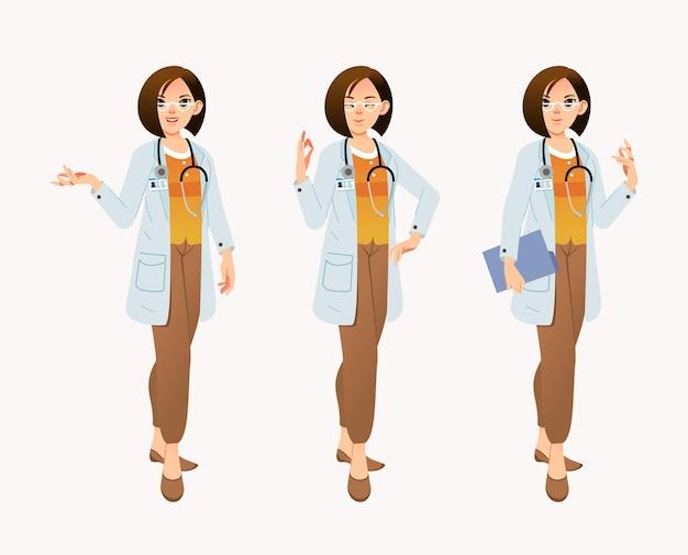シテコートを着た女医師キャラクターのセット