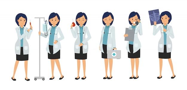 Набор символов женский доктор с разновидностями медицинского оборудования. медицинская иллюстрация.