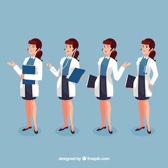Набор женщин-врачей с папкой
