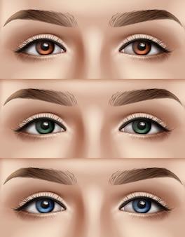 青、緑、茶色の目を持つ女性の顔のセット