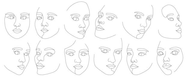 Набор женских лиц, нарисованных одной непрерывной линией. минималистичные абстрактные портреты красивых женщин. концепция современной моды. черный рисунок на белом фоне Premium векторы