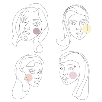 Набор женских лиц, нарисованных одной непрерывной линией. минималистичные абстрактные портреты красивых женщин. концепция современной моды. черный рисунок на белом фоне