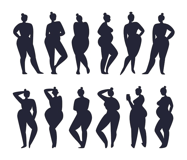 같은 헤어 스타일을 가진 여성 인물 세트가 두 줄로 서 있습니다.