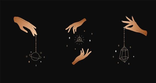 여성 손의 집합입니다. 마녀 마법과 오컬트 컬렉션.